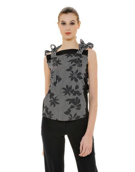 Αμάνικη γυναικεία μπλούζα με φιόγκους