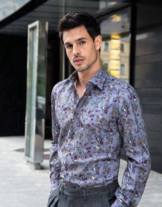 [el]Micro floral κλασσικό πουκάμισο[en] Micro floral classic shirt