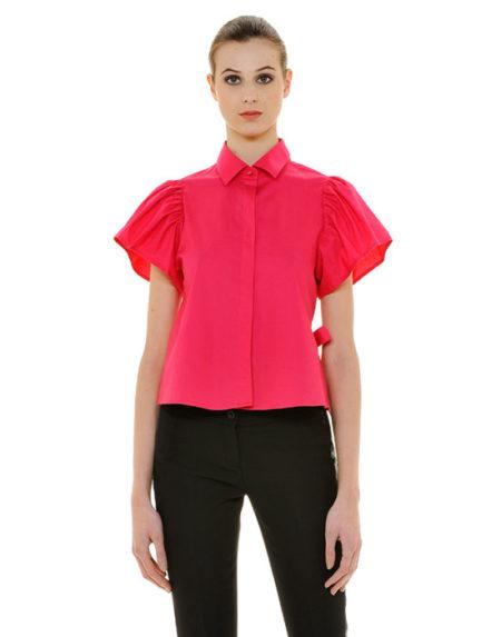 Βαμβακερό γυναικείο πουκάμισο με balloon μανίκια