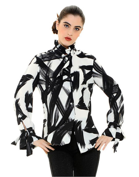 Black and white printed γυναικεία πουκαμίσα