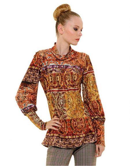 Col roule βελούδινη τουνίκ με λαχούρια | Nara Camicie