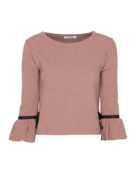 Γυναικεία pλεκτή μπλούζα με τρουά καρ μανίκια