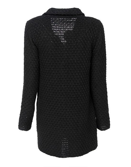 [el]Γυναικείο πλεκτή ζακέτα με λούτρινες τσέπες πίσω[en]Women's knitted cardigan with plush pockets back