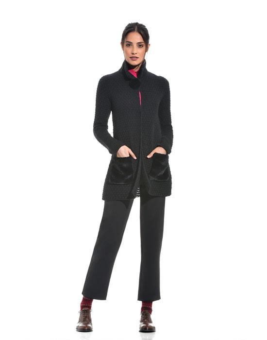 Γυναικεία Πλεκτή ζακέτα λούτρινες τσέπες | Nara Camicie