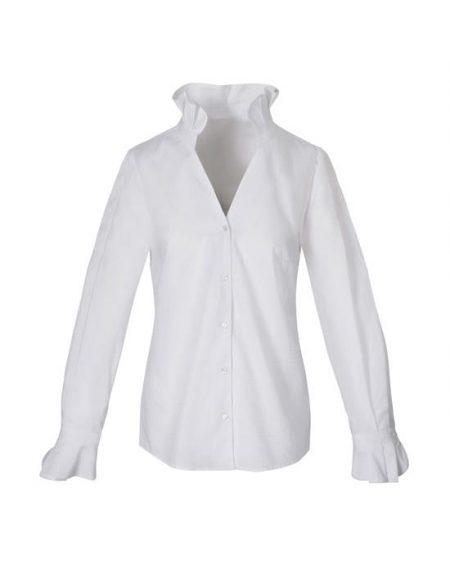 Γυναικείο Chambray πουκάμισο με frills μπροστά