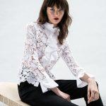 Γυναικείο Δαντελένιο πουκάμισο με frills