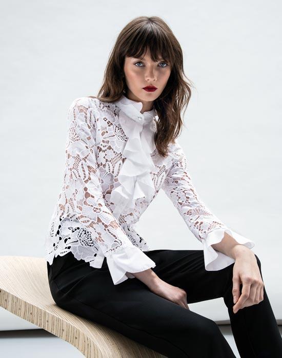 [el]Γυναικείο Δαντελένιο πουκάμισο με frills[en]Women's Lace Shirt with Frills