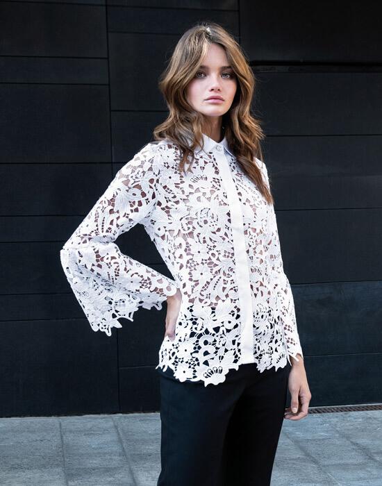 [el]Γυναικείο Δαντελένιο πουκάμισο με swarovski lifestyle[en]Women's lace shirt with swarovski lifestyle