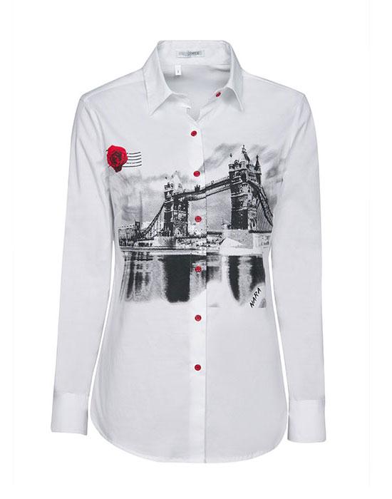 Γυναικείο κλασσικό London Bridge printed πουκάμισο