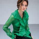 Γυναικείο μεταξωτό πουκάμισο οργάντζα lifestyle