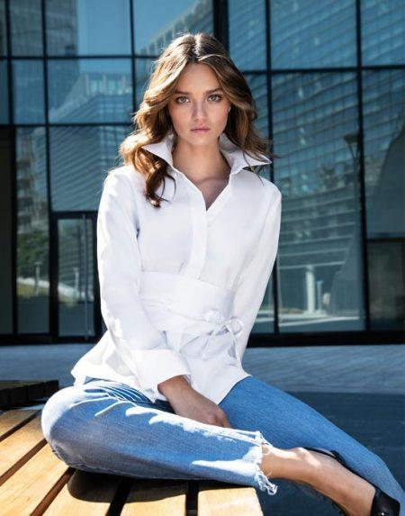 Γυναικείο oxford πουκάμισο με ζώνη | Nara Camicie