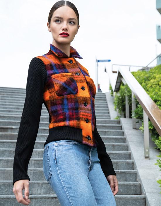 [el]Plaid γυναικείο μάλλινο σακάκι[en]Plaid lady's woolen jacket