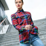 Plaid lady's woolen shirt