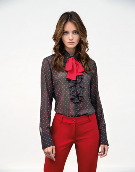 Women's Pois shirt with frills and scarf lifestyle