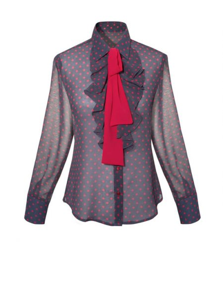Women's Pois shirt with frills and scarf