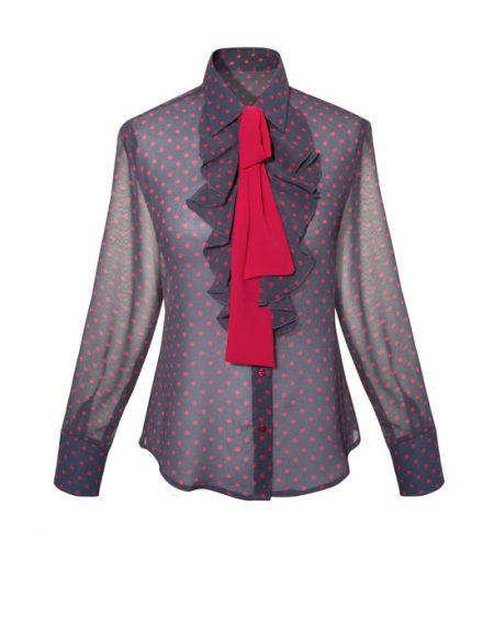 Γυναικείο Pois πουκάμισο με frills και σάρπα