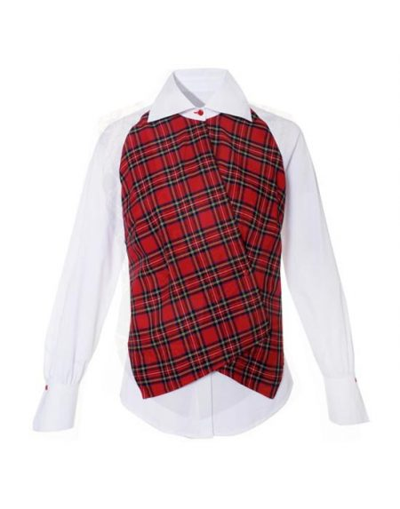 Women's shirt with tartan plaid gilet
