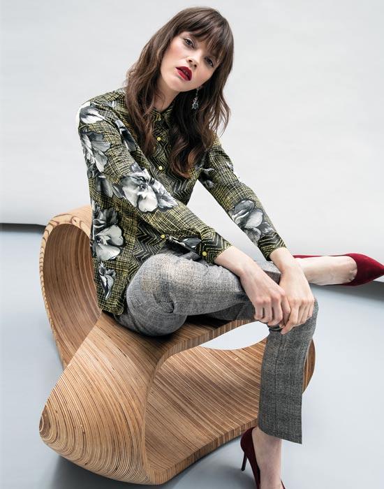 [el]Γυναικείο saten foulard πουκάμισο[en]Women's satin foulard shirt