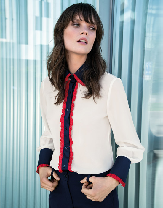 [el]Τρίχρωμο πουκάμισο με μικρά frills[en]Tricolor shirt with small frills