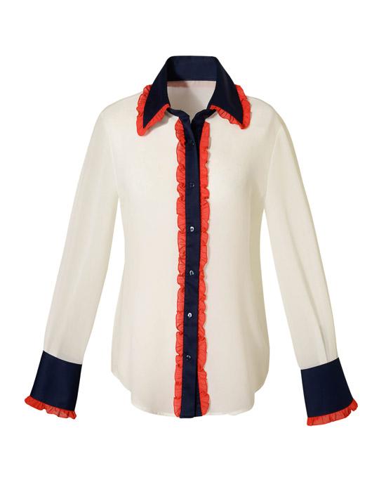Τρίχρωμο πουκάμισο με μικρά frills (μπροστά)