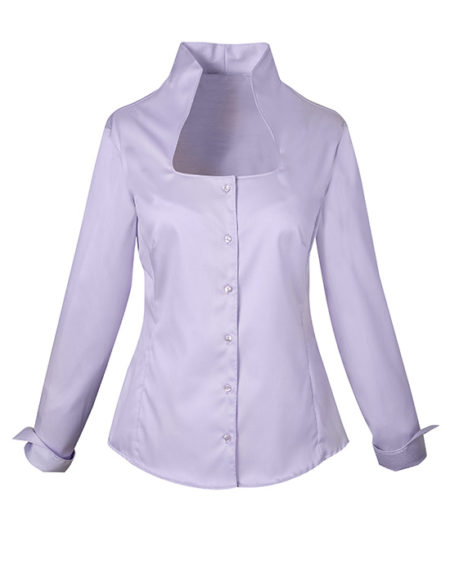 Γυναικείο oxford πουκάμισο με stand-up γιακά