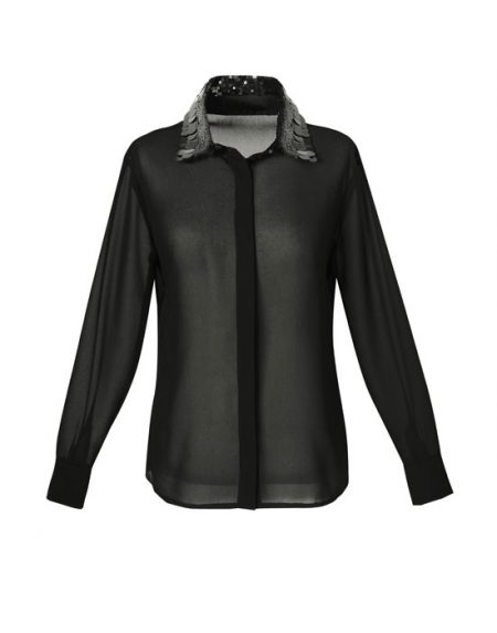 Women's Shirt with paillettes embroidered collar