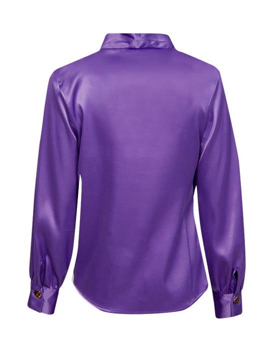 [el]Πουκάμισο saten με τιγρέ κουμπιά (πίσω)[en]Satin shirt with tab buttons (back)