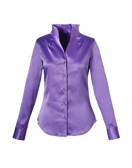 Women's Satin Shirt with Stand Collar