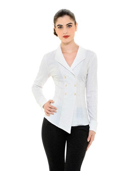 Jacquard πουκάμισο με σταυρωτό κούμπωμα