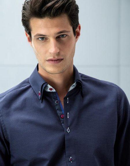 Ανδρικό πουκάμισο διπλό button down γιακά | Nara Camicie