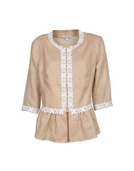 Γυναικείο λινό πουκάμισο με macrame | Naracamicie