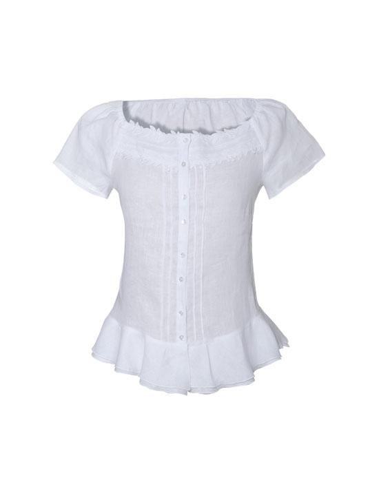 Γυναικείο λινό πουκάμισο με μικρά volan | Naracamicie