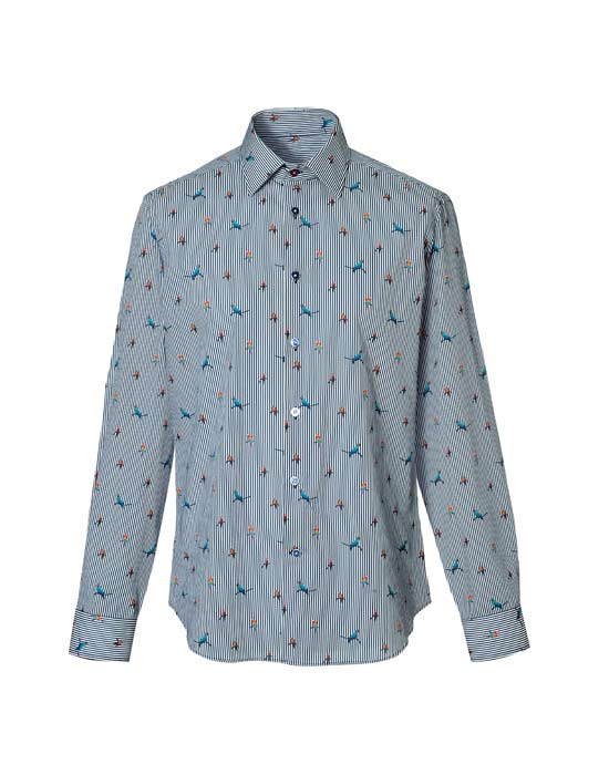 Ανδρικό πουκάμισο με τύπωμα παπαγαλάκια | Naracamicie