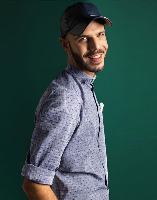[el]Micro print βαμβακερό πουκάμισο | Naracamicie[en]Tonal micro-print shirt, breast pocket | Naracamicie