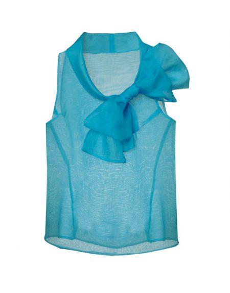 Γυναικεία cold shoulder μπλούζα σε μεταξωτή οργάντζα | Naracamicie