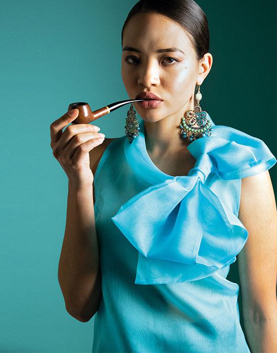 [el]Γυναικεία cold shoulder μπλούζα σε μεταξωτή οργάντζα | Naracamicie[en]Women's cold shoulder blouse in silk organza | Naracamicie