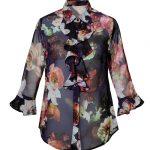 Γυναικείο floral πουκάμισο με volan | Naracamicie