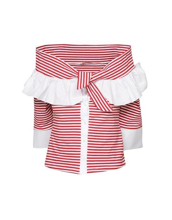 Off shoulder jersey πουκάμισο NaraCamicie T6128-FO8267