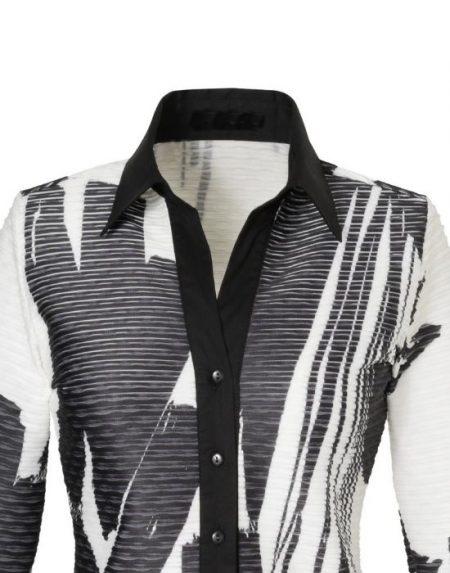 Δίχρωμο πουκάμισο σε ανάγλυφο onde Nara Camicie