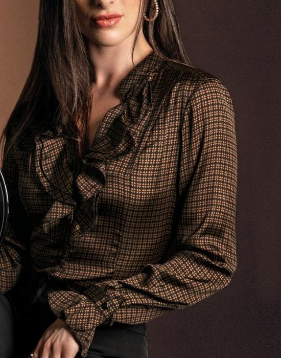 [el]Πουκάμισο με βολάν Nara Camicie[en] shirt with ruffles Nara Camicie