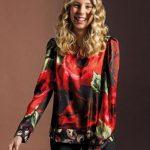 Σατέν floral print μπλούζα NaraCamicie