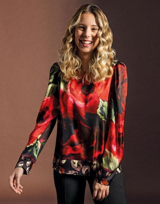 [el]Σατέν floral print μπλούζα NaraCamicie [en]Satin floral print blouse NaraCamicie