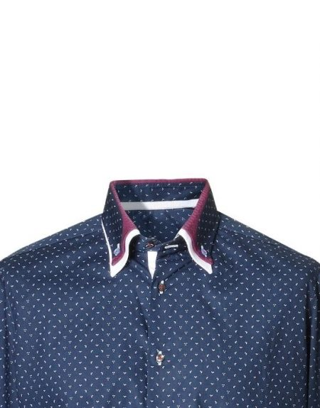 Button down πουκάμισο με micro-dots τύπωμα NaraCamicie
