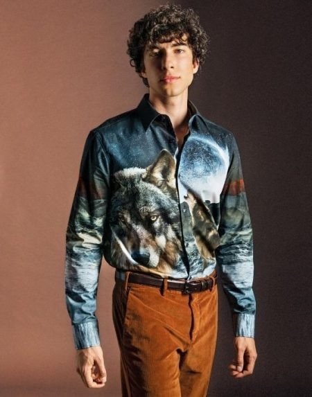 [el[Digital print ανδρικό πουκάμισο NaraCamicie