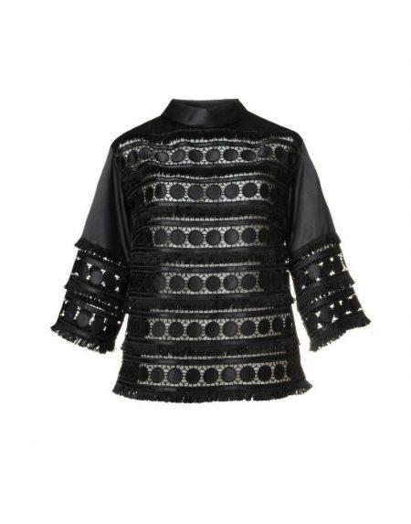Jabot collar δαντελένια μπλούζα NaraCamicie