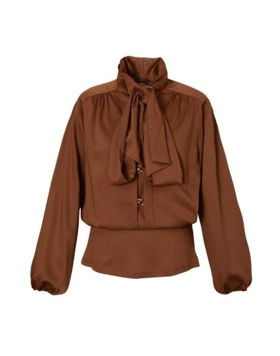 Tie collar σατέν μπλούζα με μπάσκα Nara Camicie