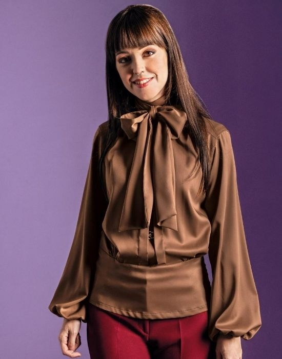 [el]Tie collar σατέν μπλούζα με μπάσκα Nara Camicie[en] Tie-collar satin blouse with basque Nara Camicie