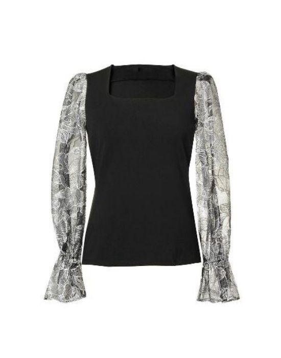 Jersey-tulle γυναικεία μπλούζα