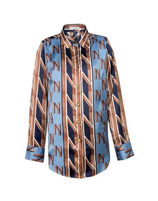 [el]Σατέν logo print πουκάμισο NaraCamicie [en] Satim logo print shirt NaraCamicie