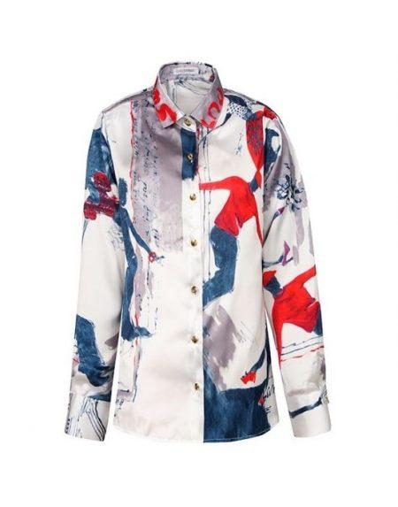 Σατέν pop art print πουκάμισο NaraCamicie